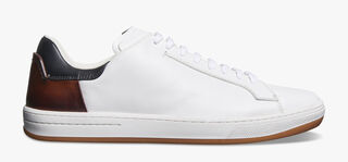 Burano Outline Calf Leather Sneaker, BIANCO/MOGANO, hi-res