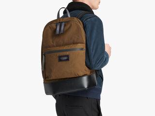 Volume Nylon Calf Leather Backpack, KAKI, hi-res