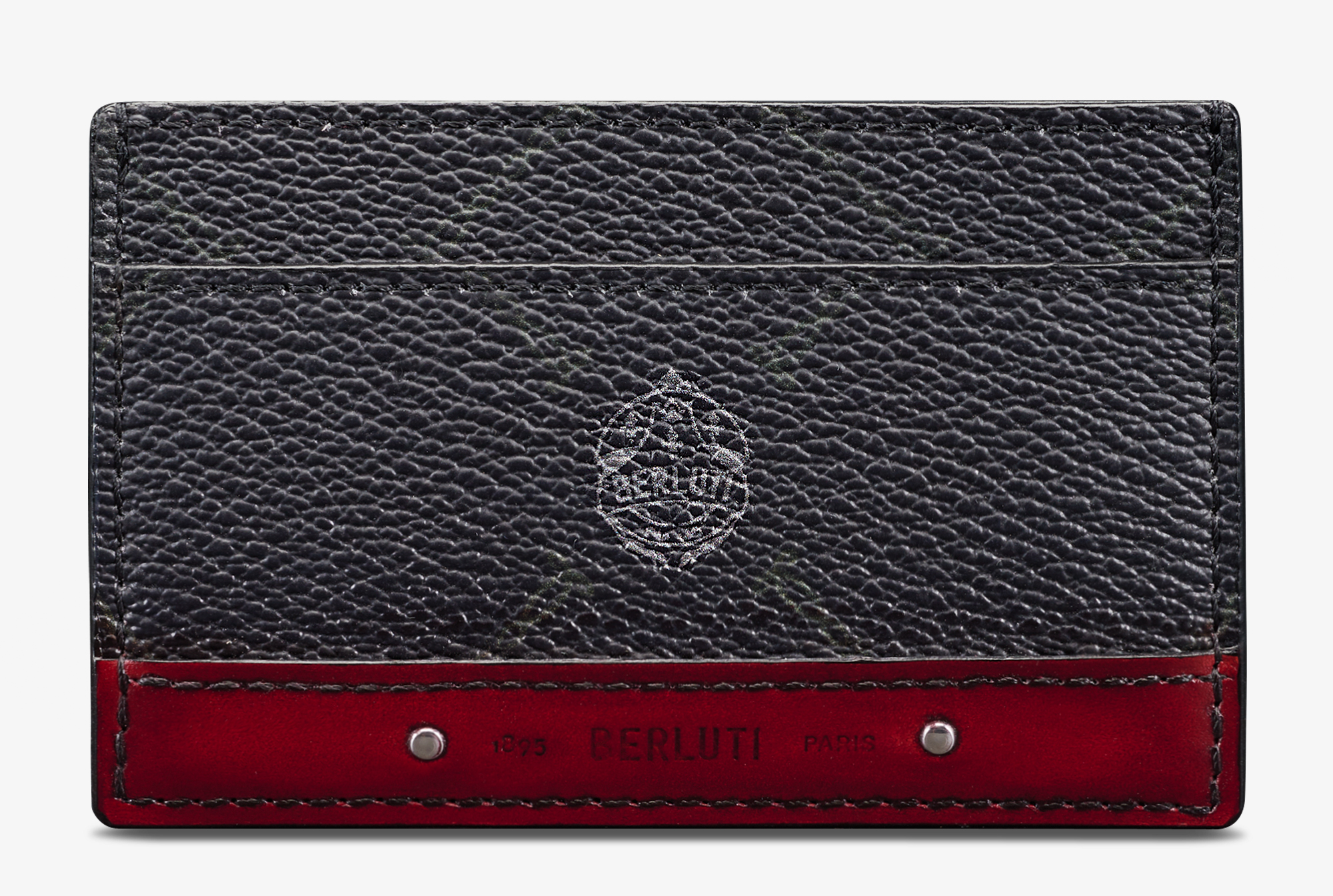 Séjour Canvas And Leather Card Holder, BLACK + SIMAL RED, hi-res
