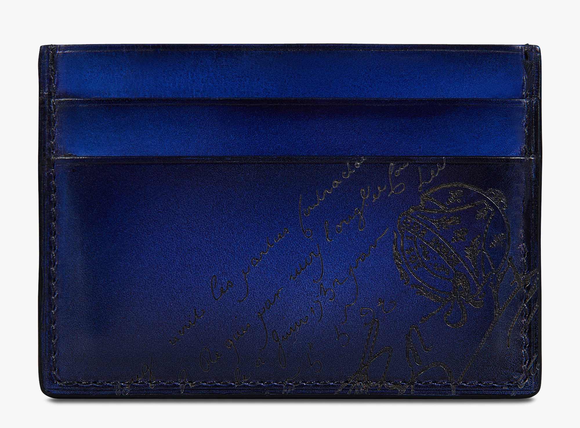 Bambou Scritto Swipe Leather Card Holder, UTOPIA BLUE, hi-res