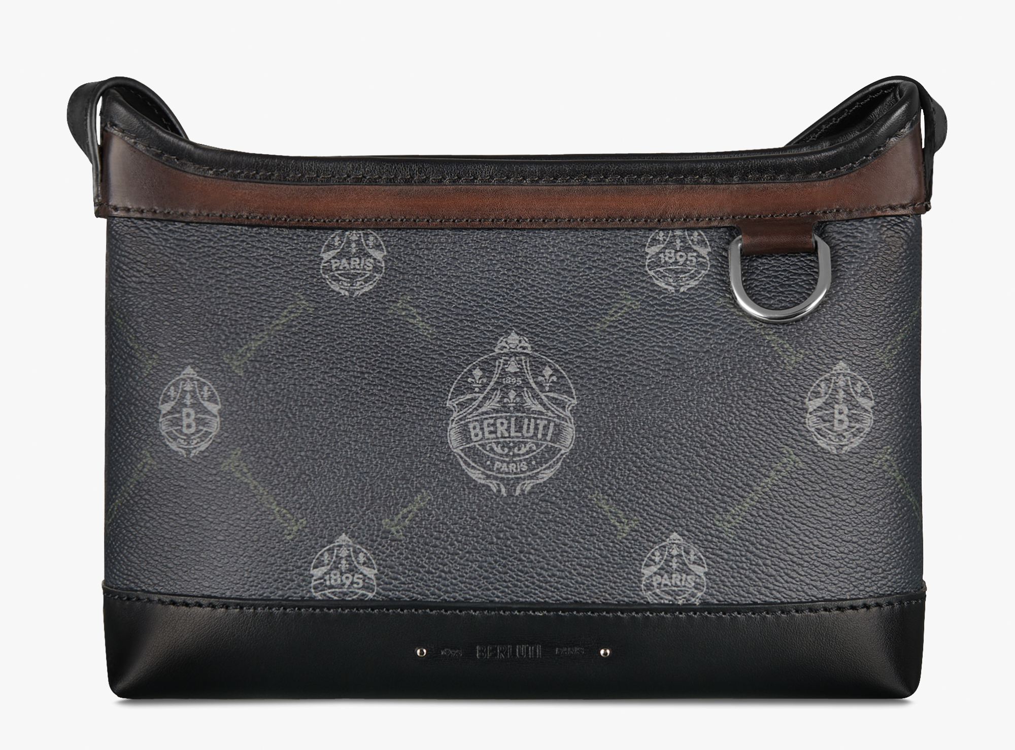 Escapade Canvas And Leather Messenger Bag, BLACK + TDM INTENSO, hi-res