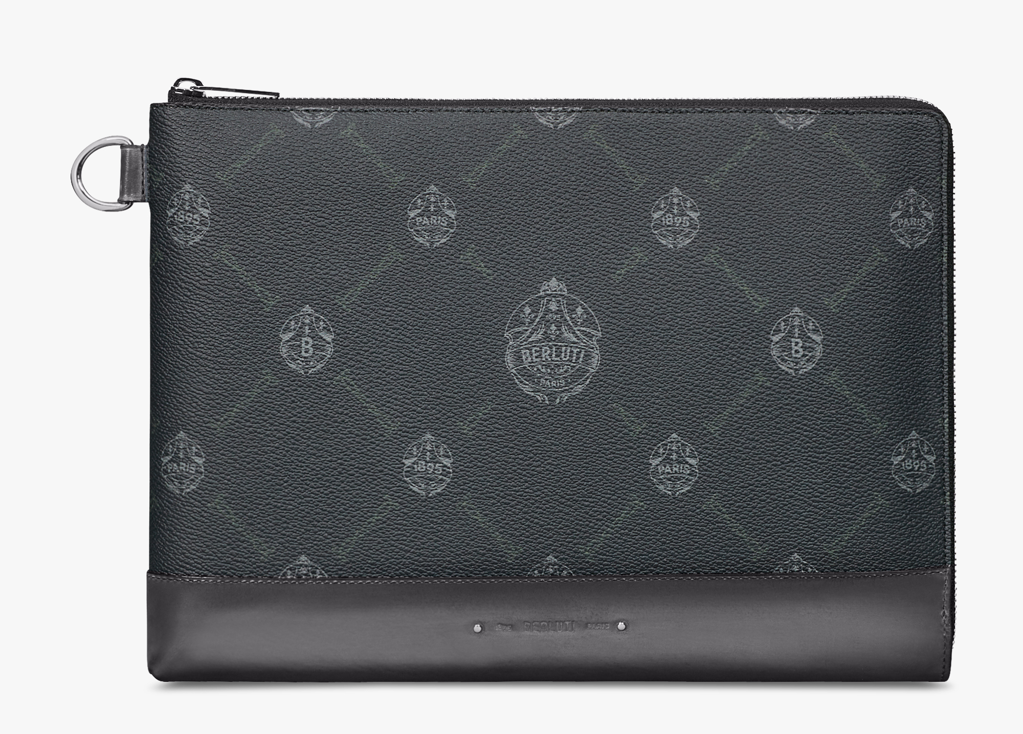 Nino Large Canvas and Leather Clutch , BLACK + LIGHT ALUMINIO, hi-res