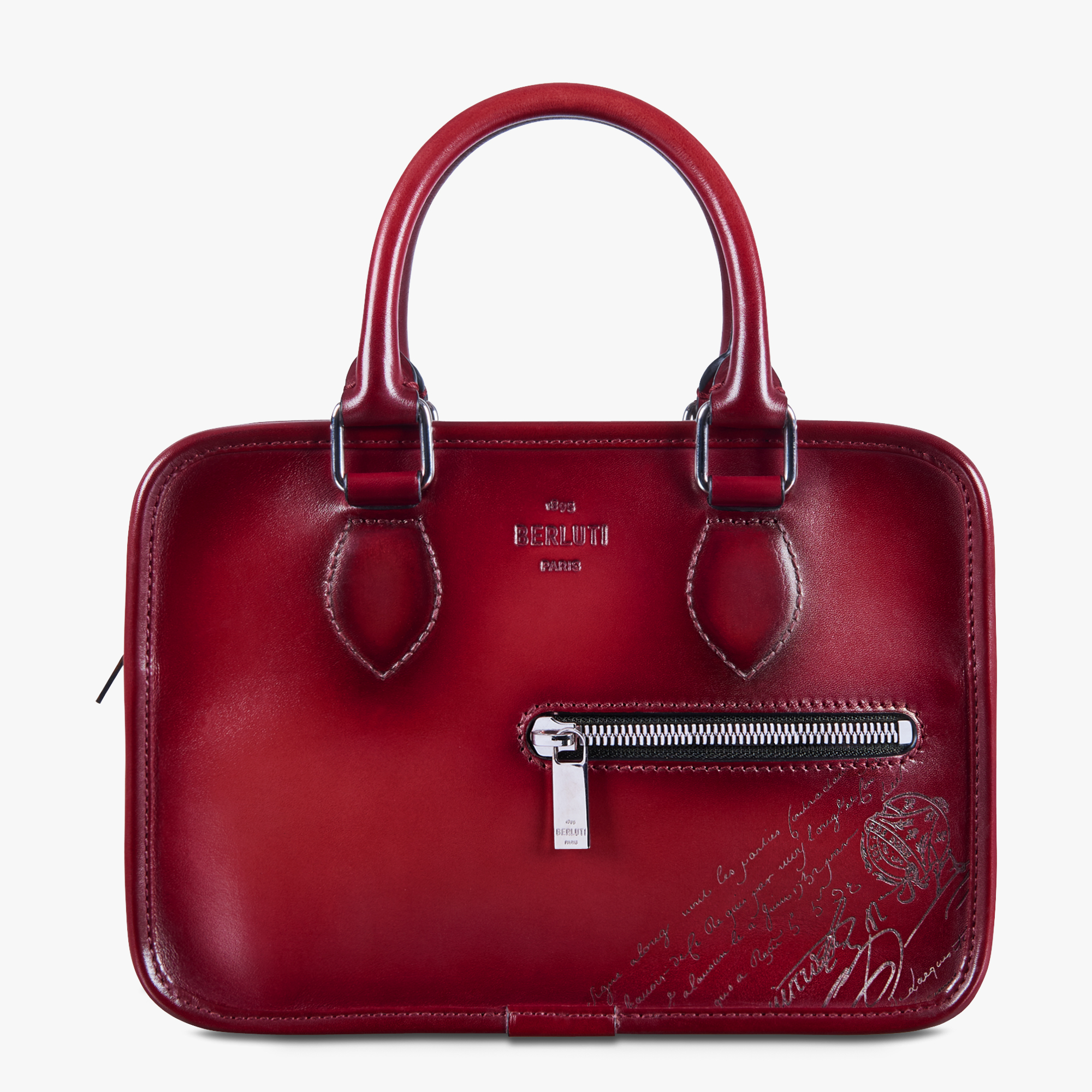 Un Jour Gulliver Scritto Leather Messenger Bag, SIMAL RED, hi-res
