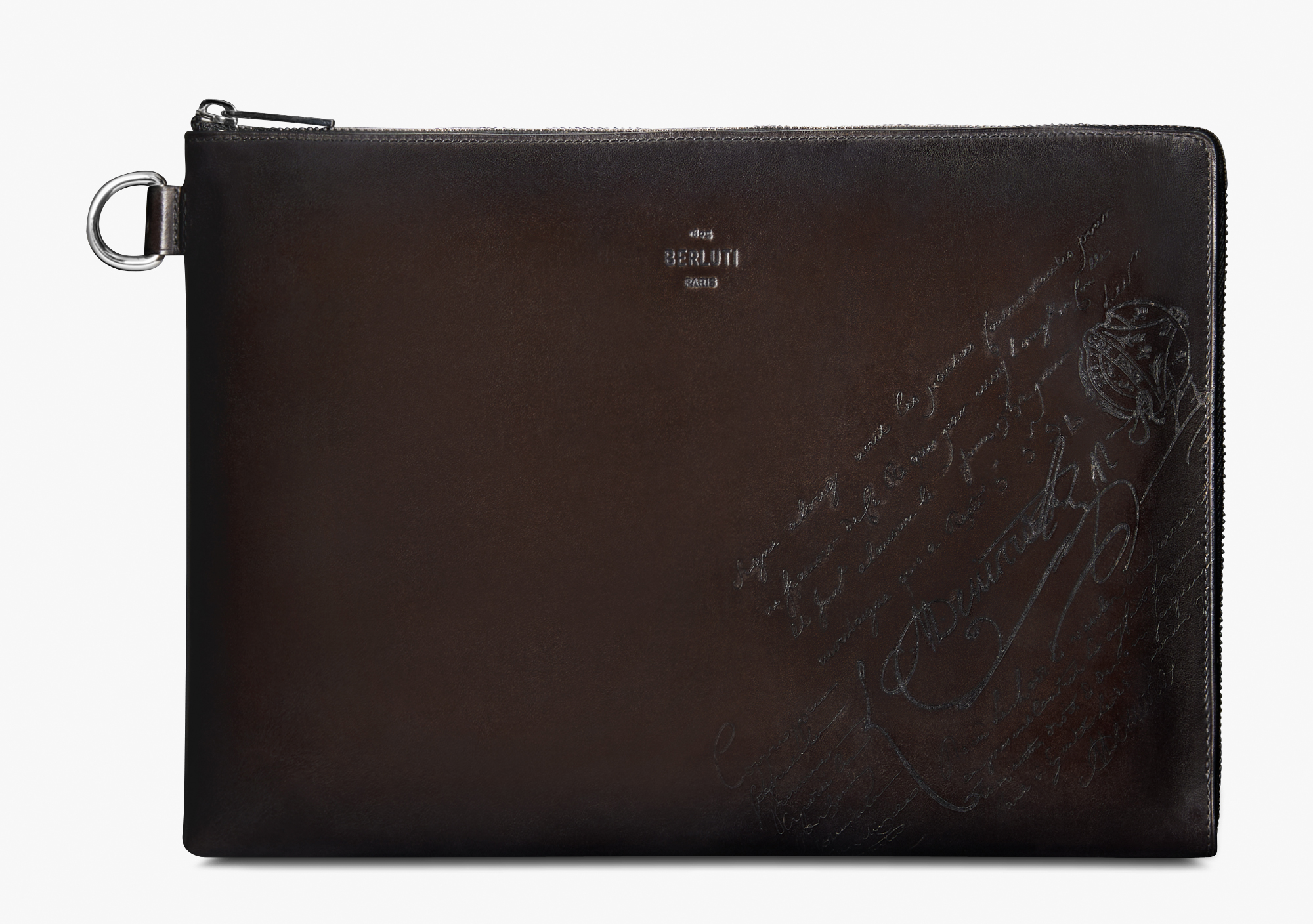 Nino GM Scritto Leather Clutch, ICE BLACK, hi-res