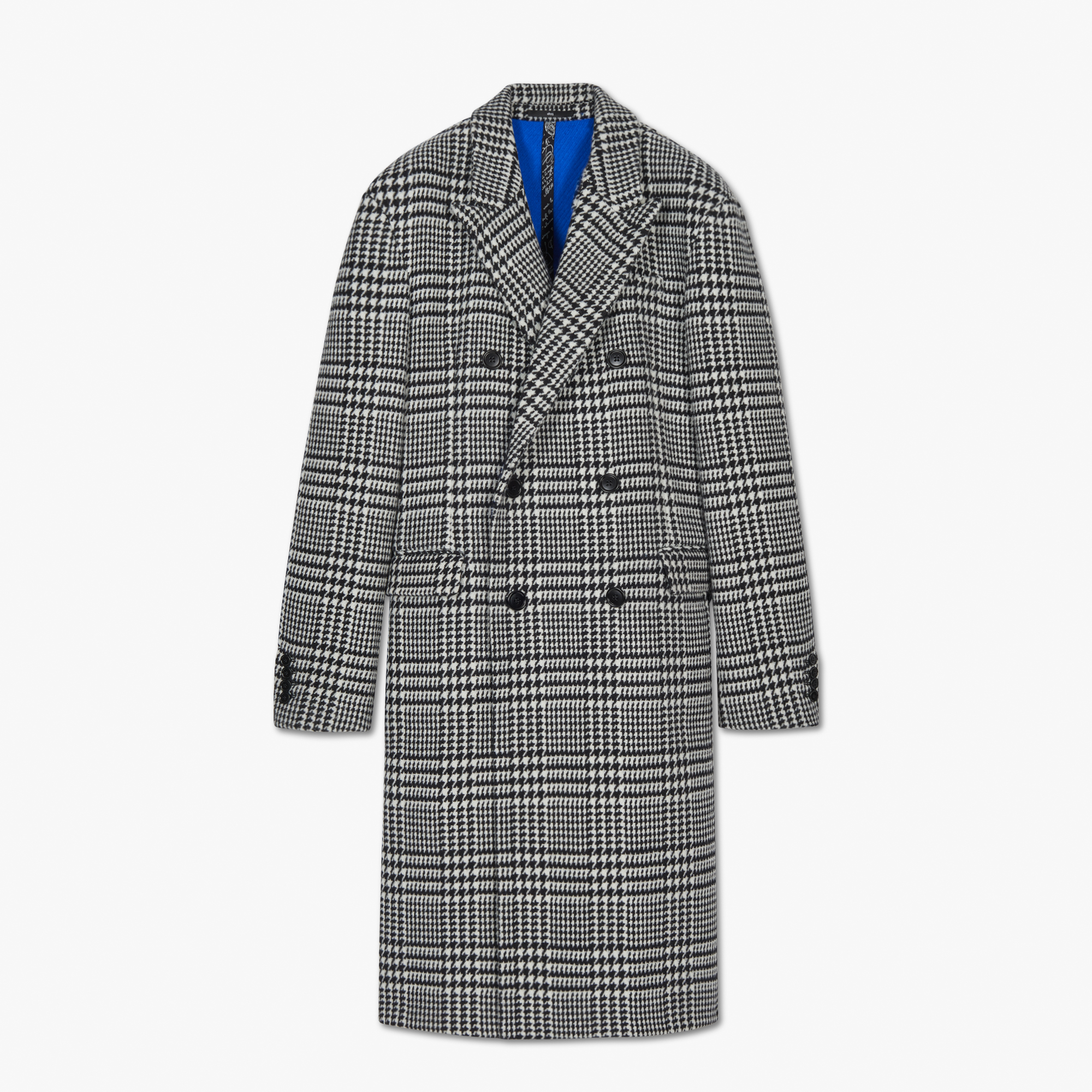 Prince Of Wales Double Face Coat, BLACK CHECK / LAPIS BLUE, hi-res