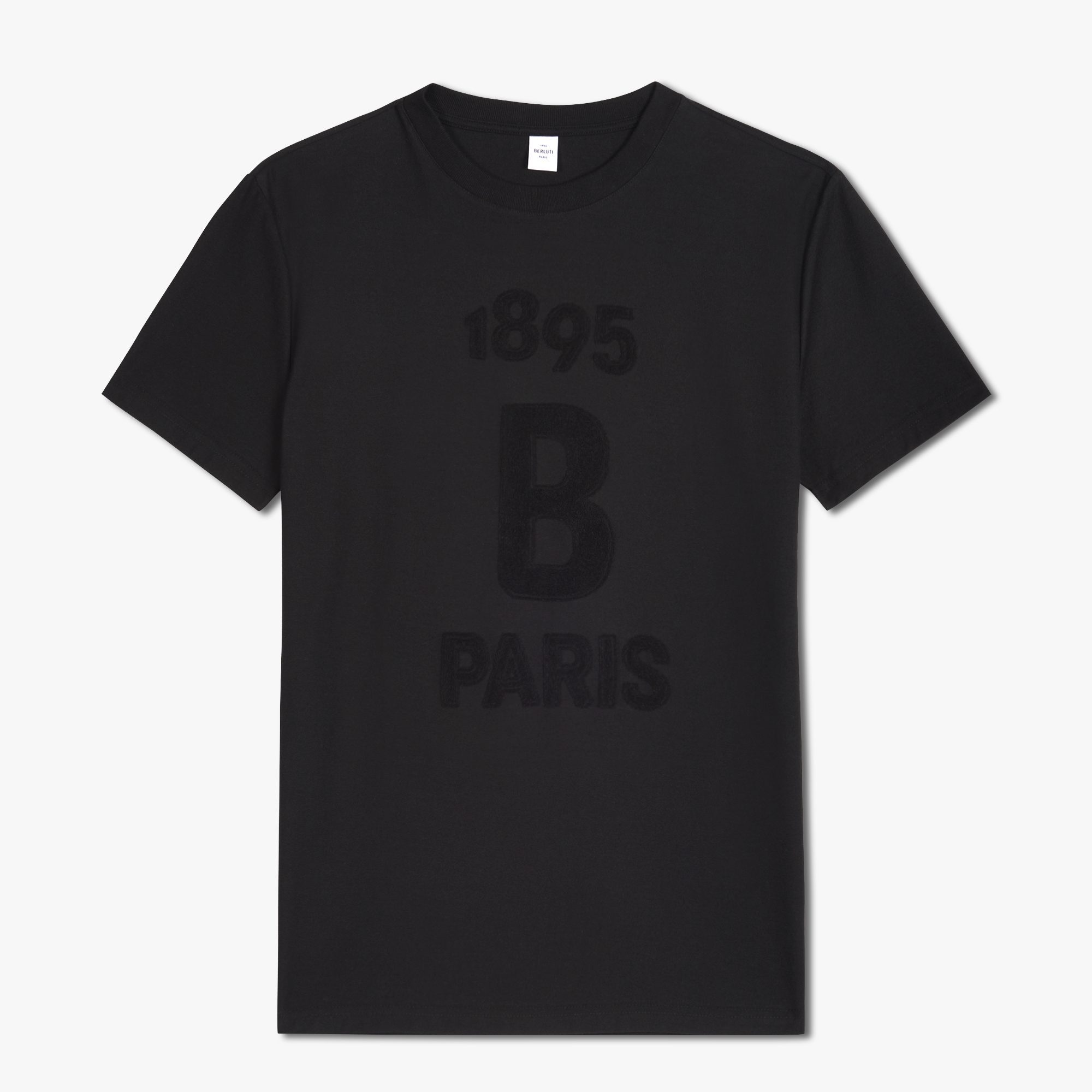 Cotton T-Shirt With Terry Cloth Logo, NOIR, hi-res