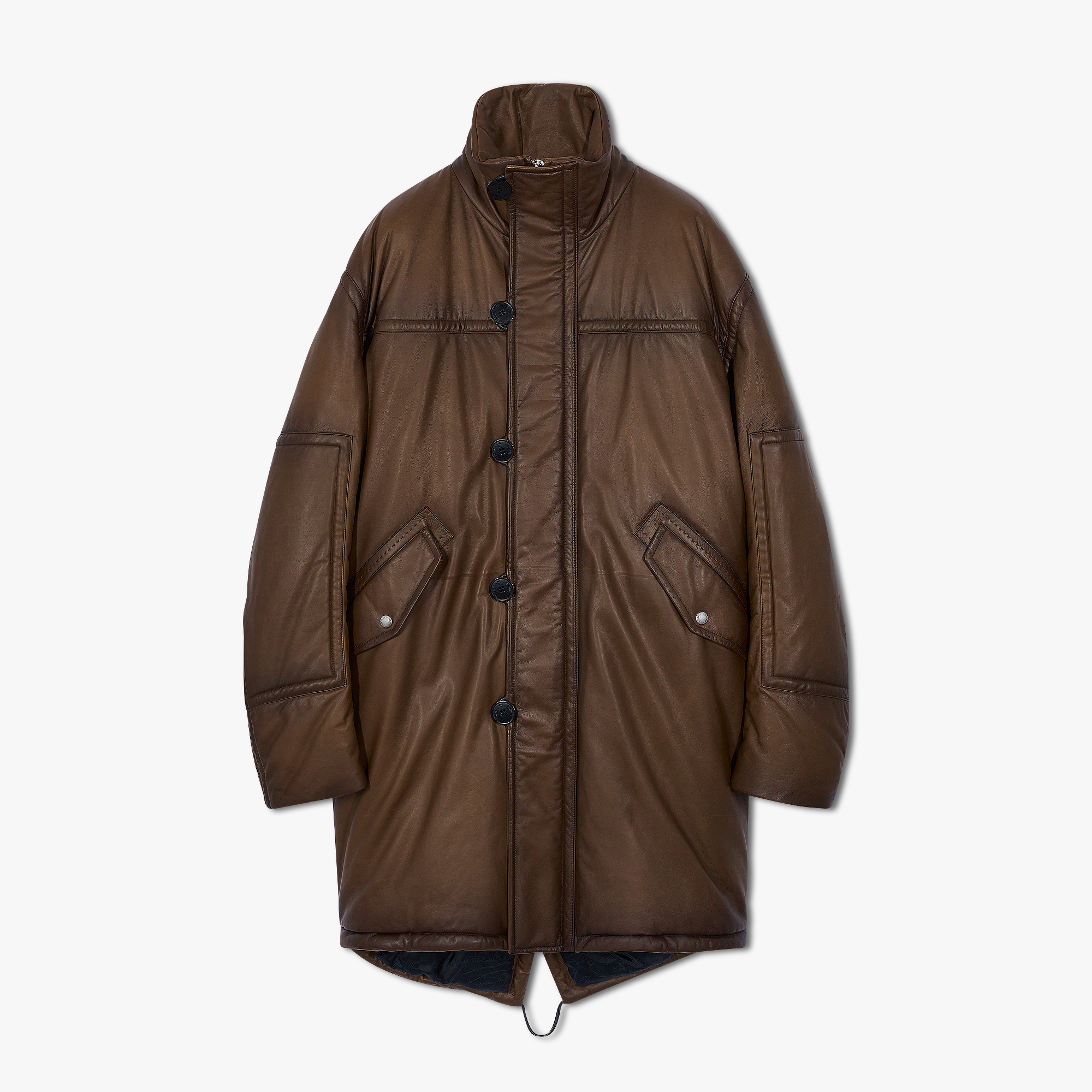 Patina Leather Down Parka, EBANO, hi-res