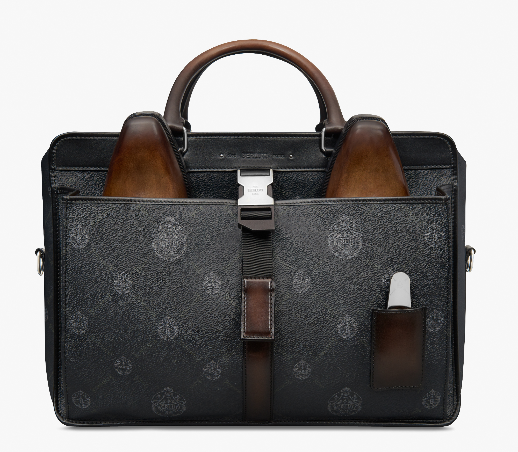 Aviator Canvas and Leather Holdall, BLACK + TDM INTENSO, hi-res