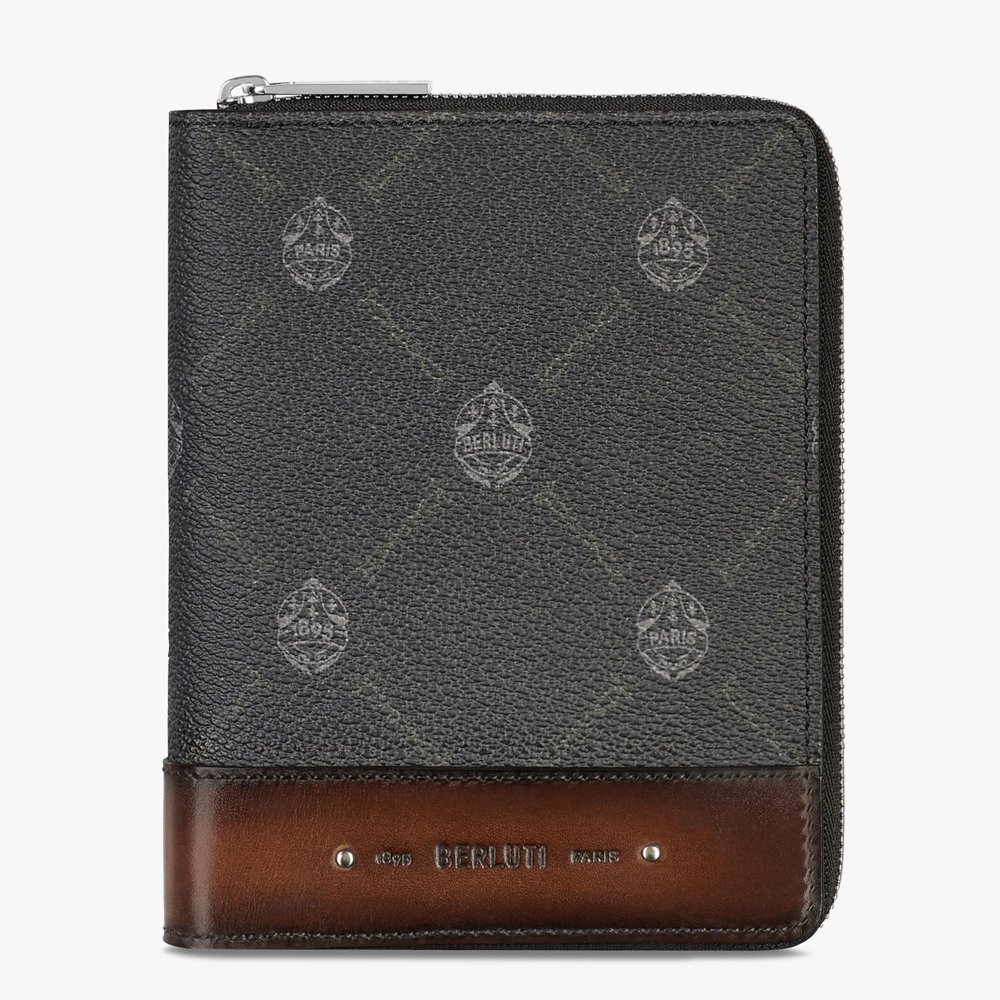 Expédition Canvas And Leather Zipped Wallet, BLACK + TDM INTENSO, hi-res