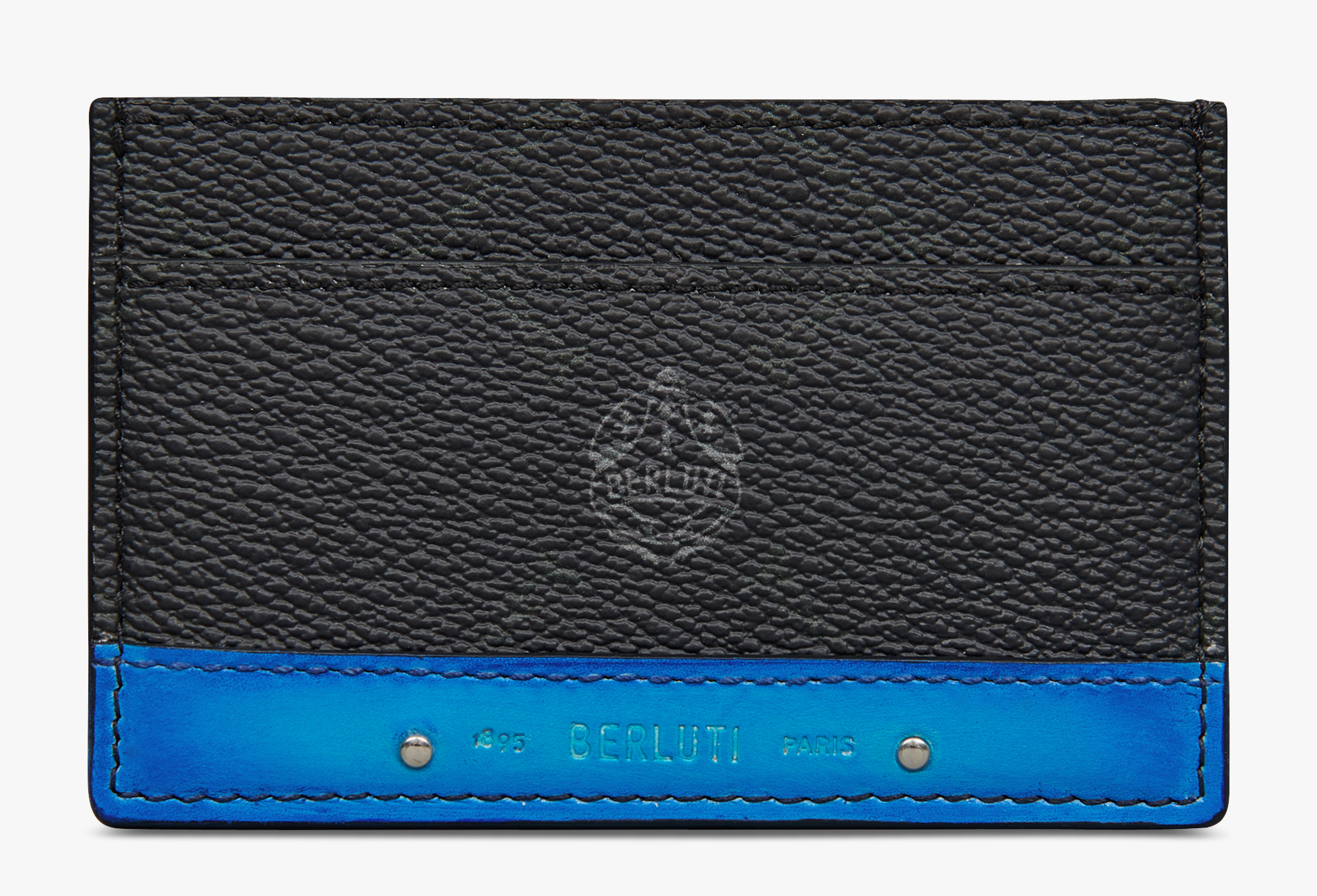Séjour Canvas And Leather Card Holder, BLACK + AQUA BLUE, hi-res