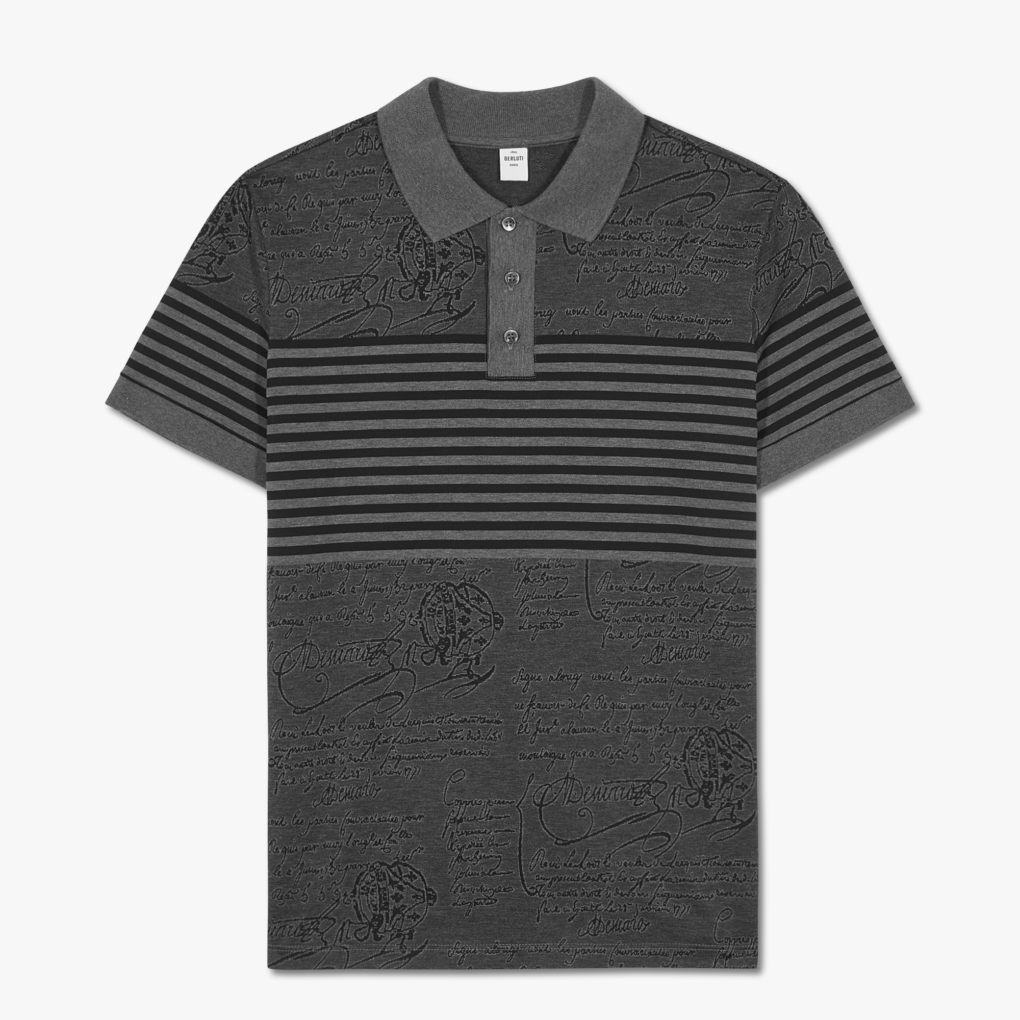 Striped Scritto Polo Shirt, MYSTERIOUS GREY, hi-res
