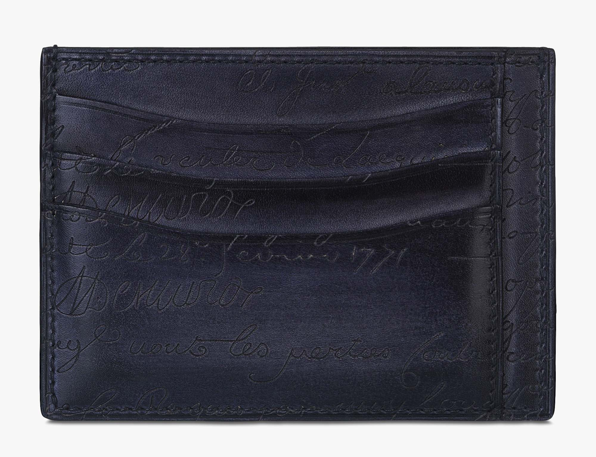 Bambou Tetris Scritto Leather Card Holder, NERO, hi-res