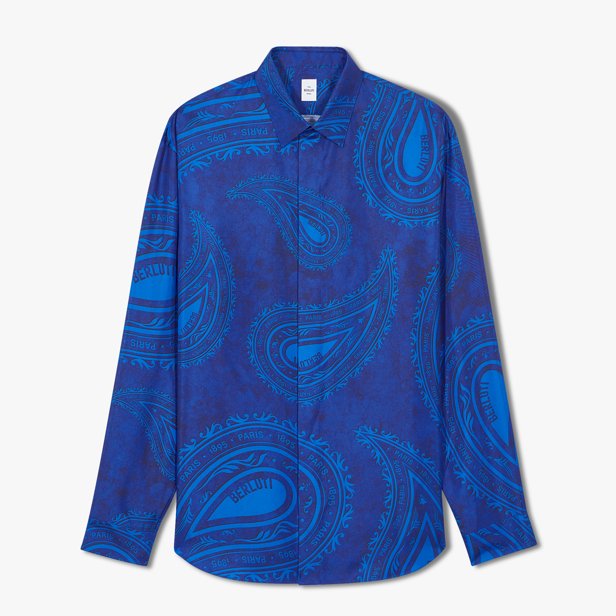 Printed Silk Shirt, BLUE PAISLEY, hi-res