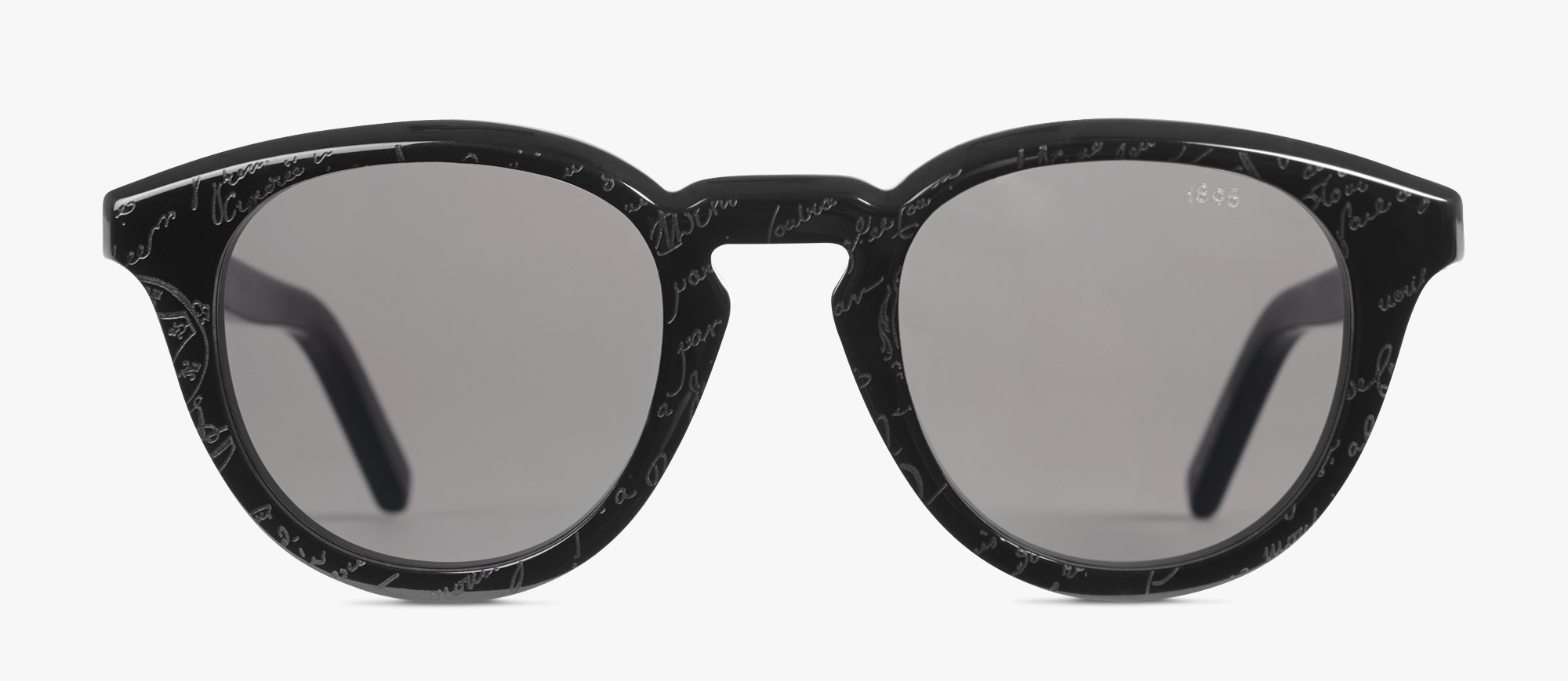 Halo Round Shape Acetate Sunglasses, BLACK + SOLID SMOKE, hi-res